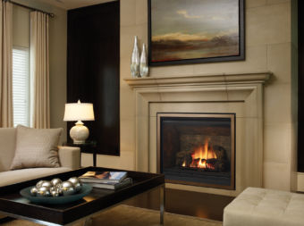 B41XTE Large gas fireplace in cozy living room