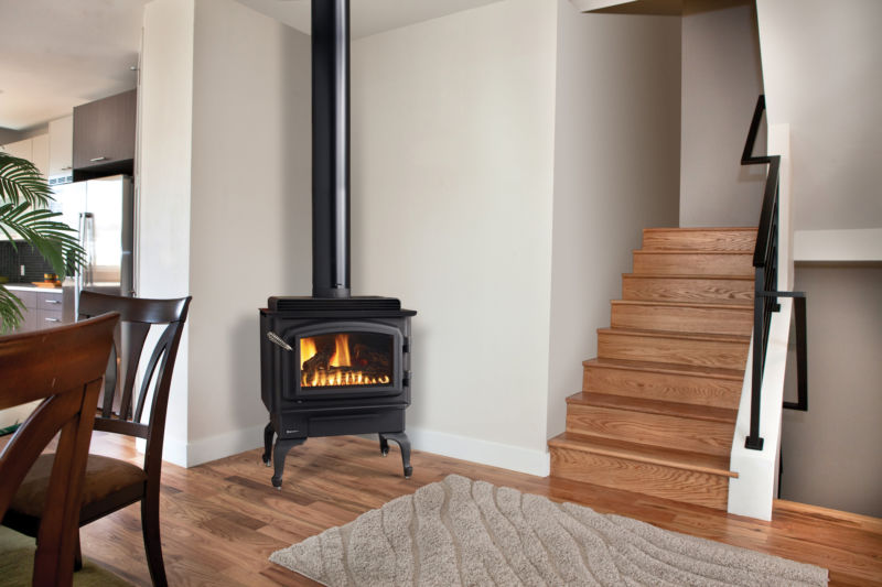 C34 gas stove in corner of living space