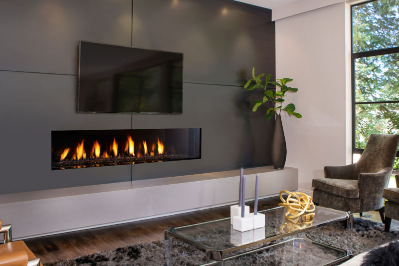 New York View CV72E modern fireplace in a living space