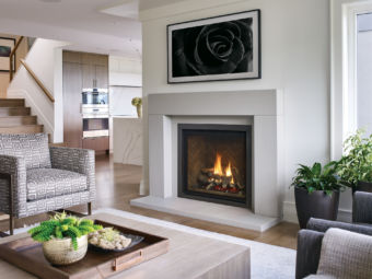 Regency Grandview G800EC gas fireplace insert in a comfortable living room