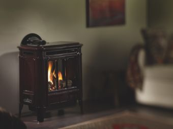 Hampton H27 Iron wood stove, brown