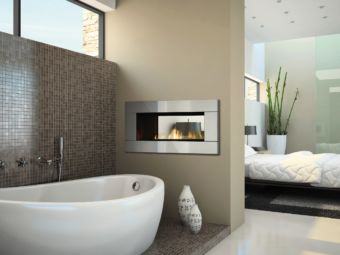Horizon HZ42STE Contemporary see-through fireplace in a bathroom