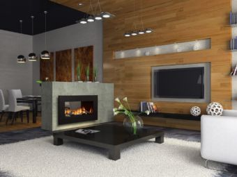 Horizon HZ42STE Contemporary see-through fireplace in a living room
