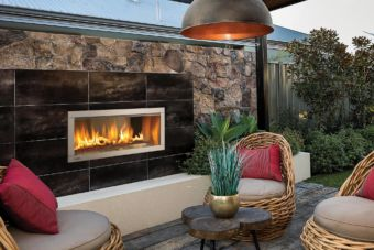 Horizon HZO42 Outdoor gas fireplace in outdoor living space