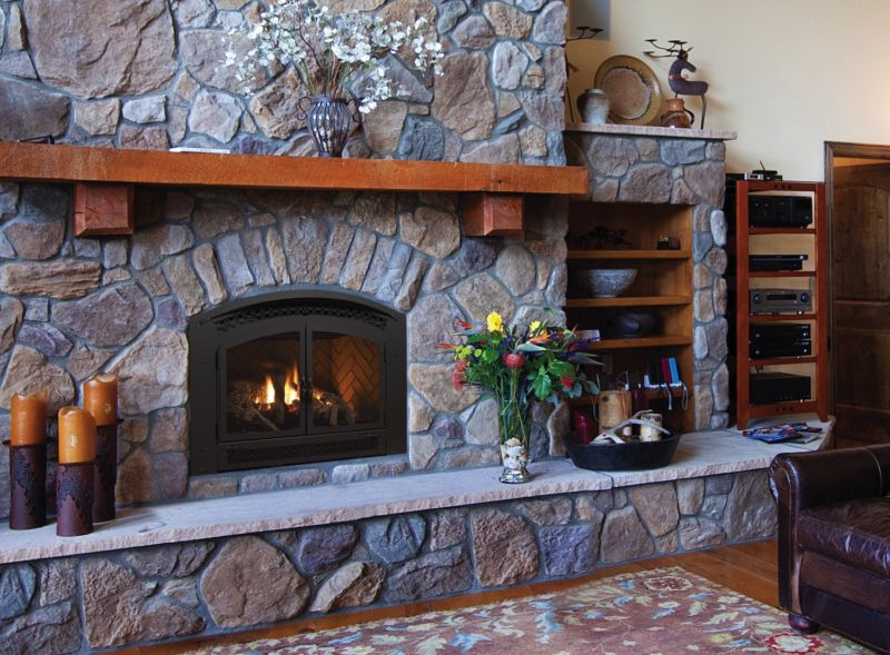 Excalibur P90E gas fireplace with stone surround