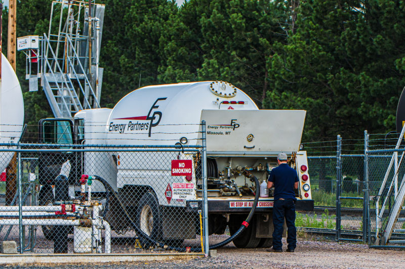 Energy Partners employee filling propane into propane truck