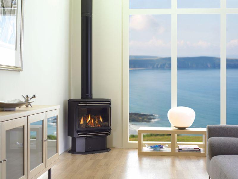 Ultimate U38/U39 black wood stove in living room corner